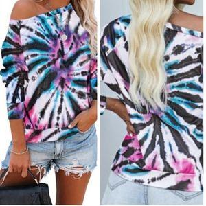 🆕️ Tie Dye Oversized LS Top White Black